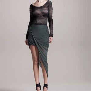 Helmut Lang Gray Draped Asymmetrical Skirt P